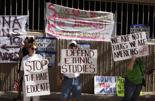 Image: Protesters gather to support the Tucson Unified School District