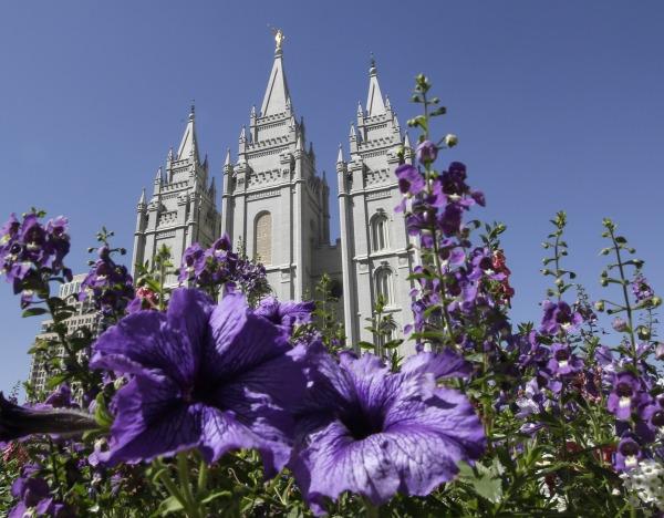 IMAGE:Flowers blooming in front of the Salt Lake Temple in Salt Lake City, Utah.