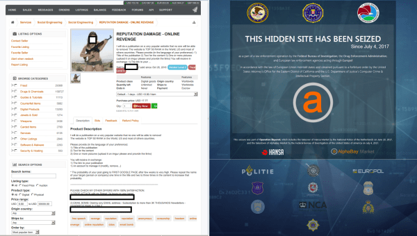 Image: AlphaBay before and after the website shutdown