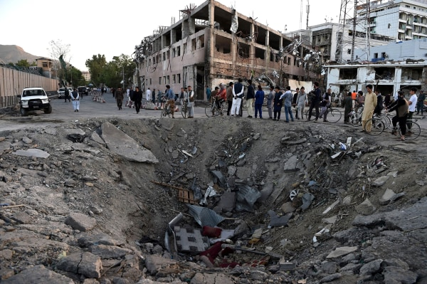Image: The crater left by a truck-bomb attack in Kabul