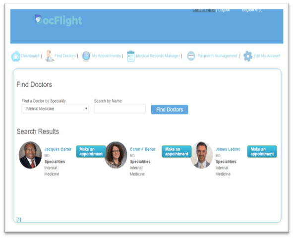 "Image: DocFlight's ""Find Doctors"" page."