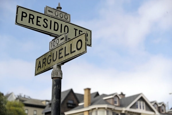 Image: Street signs are seen at the intersection of Presidio Terrace and Arguello at the entrance to the Presidio Terrace neighborhood