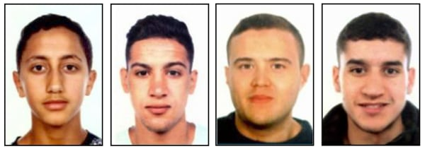 Image: L-R: Moussa Oukabir, Said Aallaa, Mohamed Hychami, who were shot dead in Cambrils, and Younes Abouyaaqoub, who was on the run.