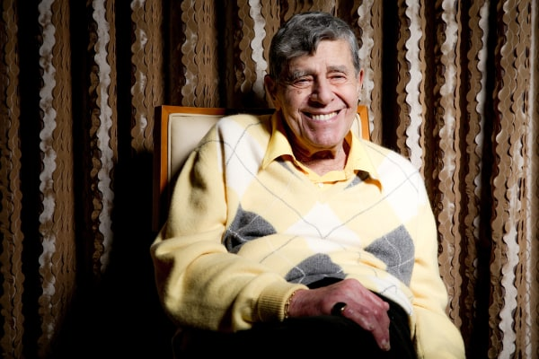 Image: Comedian Jerry Lewis reacts during an interview at the Four Seasons Hotel in Los Angeles, on Aug. 24, 2016. Getting older has been frustrating.