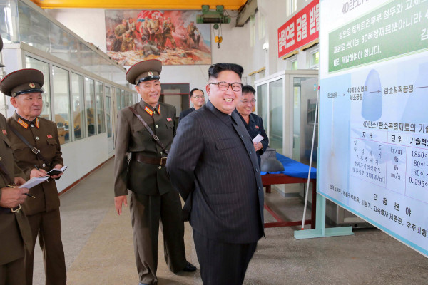 Image: North Korean leader Kim Jong-Un at the Chemical Material Institute of the Academy of Defense Science
