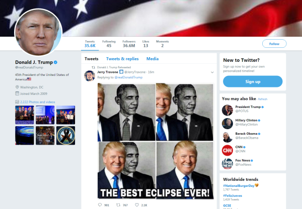 Image: Trump retweeted an image of him covering former President Barack Obama