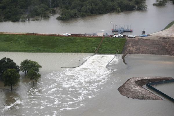 Image: Water is released from the Addicks Reservoir