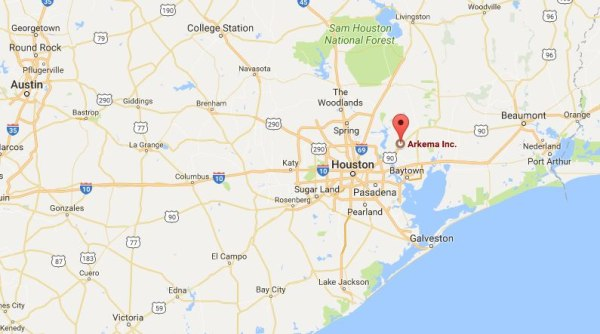 Image: Map showing location of Arkema chemical plant in Crosby, Texas
