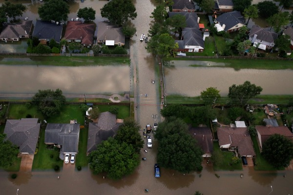 Image: Houses are seen partially submerged in flood waters caused by Tropical Storm Harvey in Northwest Houston, Texas