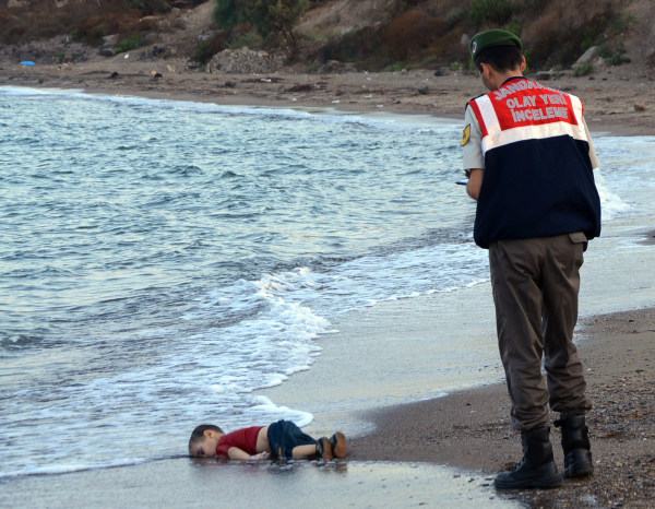 Image: The body of Aylan Kurdi washed up on a Turkish beach in 2015
