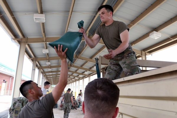 Image: In this U.S. Army handout, Soldiers of 1st Battalion, 30th Infantry Regiment, 2nd Infantry Brigade Combat Team, 3rd Infantry Division, prepare for Hurricane Irma, Sept. 8, 2017 at Fort Stewart, Georgia.