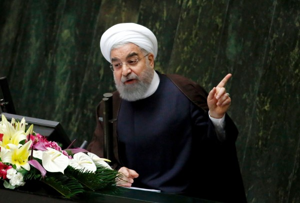 Image: Iranian President Hassan Rouhani addresses a parliamentary session in Tehran