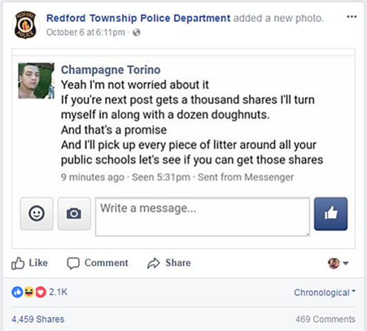 Michael Zaydel, aka Champagne Torino, issues a challenge to police over his surrender.