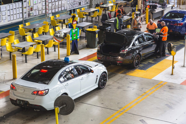 Image: Holden cars being assembled on their production line