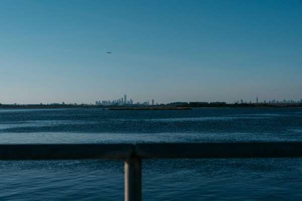 Image: The Manhattan skyline as seen from Broad Channel, Queens.