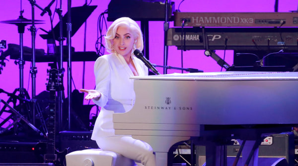 Image: Lady Gaga performs for the five former U.S. presidents, Jimmy Carter, George H.W. Bush, Bill Clinton, George W. Bush, and Barack Obama during a concert at Texas A&M University benefiting hurricane relief efforts in College Station
