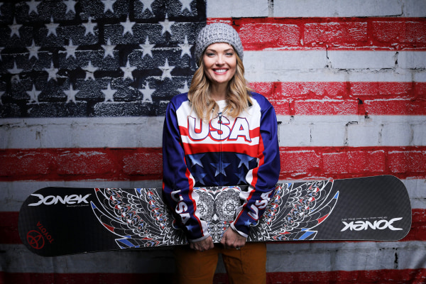Image: Paralympic snowboarder Amy Purdy poses for a portrait at the U.S. Olympic Committee Media Summit in Park City, Utah