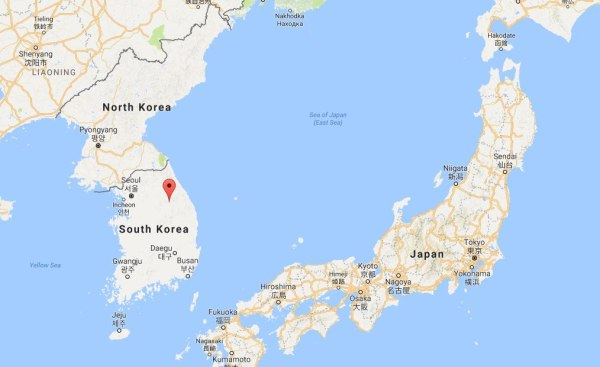 Image: A map showing the location of PyeongChang, South Korea