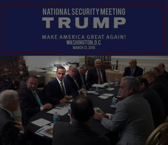 "Image: George Papadopoulos, third from left, meets with then-presidential candidate Donald Trump on March 31, 2016 at a ""National Security Meeting"" in Washington."