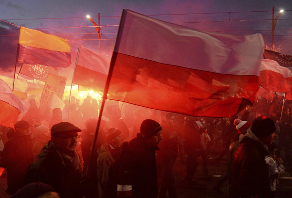 Image: Demonstrators in Warsaw on Saturday