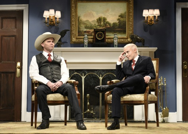 Image: Mikey Day as Politician Roy Moore and Kate McKinnon as Attorney General Jeff Sessions during the Cold Open of Saturday Night Live in Studio 8H on Nov. 11, 2017.