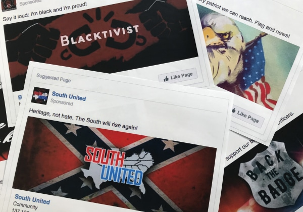 Image: Some of the Facebook ads linked to a Russian effort to disrupt the American political process