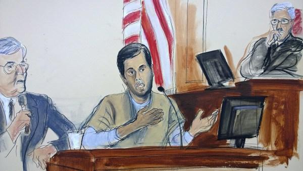 Image: In this courtroom sketch, Turkish-Iranian gold trader Reza Zarrab, center, testifies before Judge Richard Berman