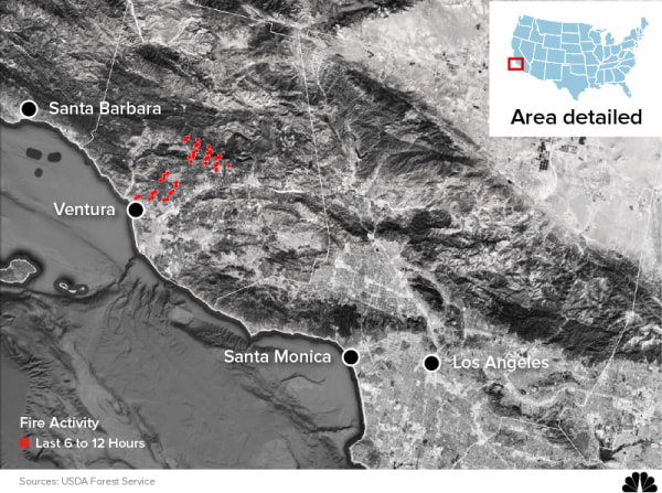 Image: Map showing Southern California wildfire in Ventura County
