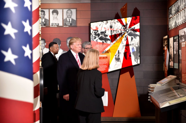 Image: U.S. President Donald Trump visits the Civil Rights Museum in Jackson, Mississippi, Dec. 9, 2017.