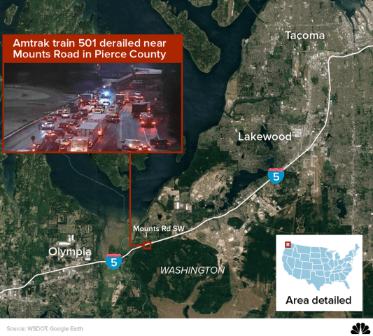 Map: Amtrak train 501 derailed near Mounts Road in Pierce County
