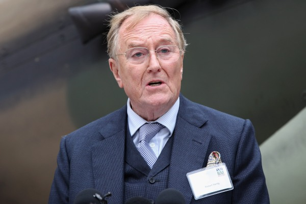 Image: Actor Robert Hardy speaks outside the Churchill War Rooms Museum
