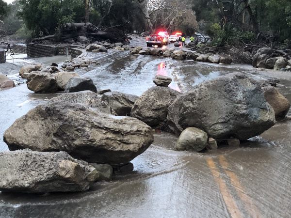 Image: Scene from the 300 block of Hot Springs Road in Montecito, California following debris and mud flow due to heavy rain on Jan. 9, 2017.