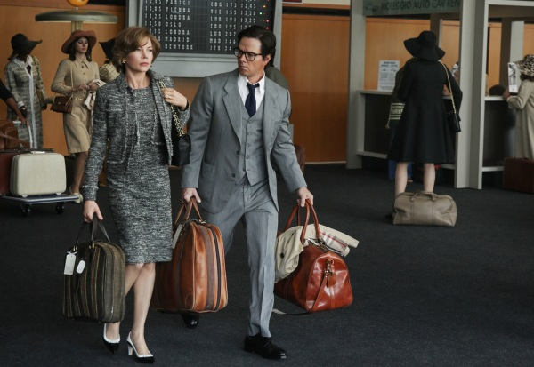 "Image: Michelle Williams and Mark Wahlberg in a still from ""All The Money In The World"""
