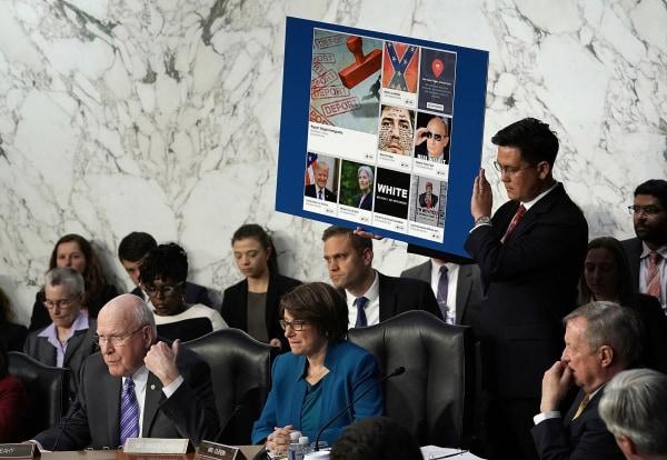 Image: Sen. Patrick Leahy questions Mark Zuckerberg as he testifies before a joint Senate hearing