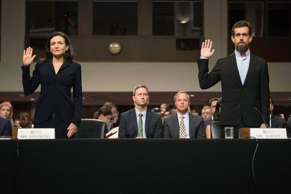 Image: CEO of Twitter Jack Dorsey and Facebook COO Sheryl Sandberg