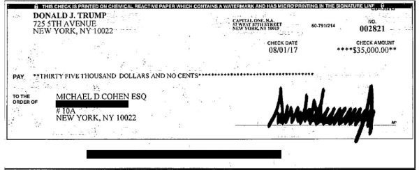 Image: A check signed by President Donald Trump for $35,000 on Aug. 1, 2017.