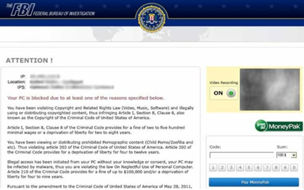 The FBI says this is but one variation of the fake warning screens that users may get.