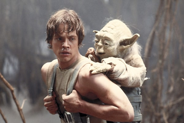 Streaming on Netflix, you will be. This 1980 publicity image originally released by Lucasfilm Ltd., Mark Hamill as Luke Skywalker and the character Yo...