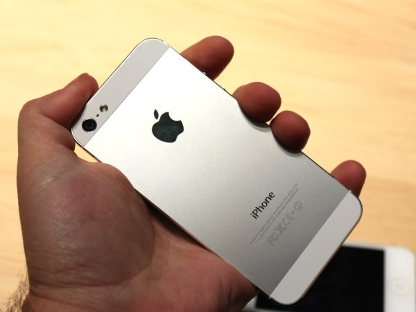 The back of a white iPhone 5.
