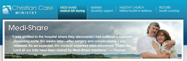 Medi-Share says its coverage works and on its website points to members who have received catastrophic care.