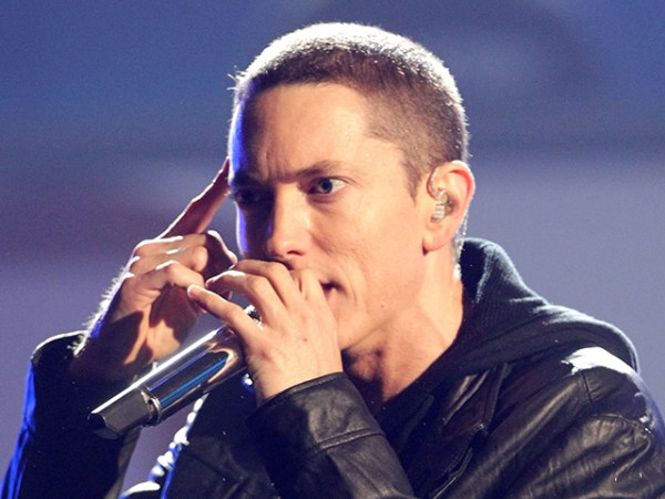 LOS ANGELES, CA - JUNE 27:  Rapper Eminem performs onstage during the 2010 BET Awards held at the Shrine Auditorium on June 27, 2010 in Los Angeles, C...