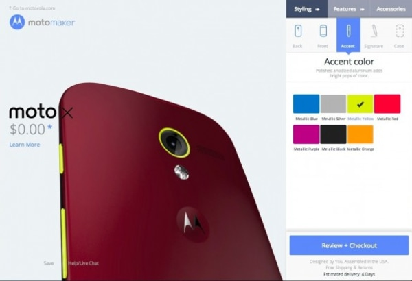 Choosing an accent color for the Moto X.