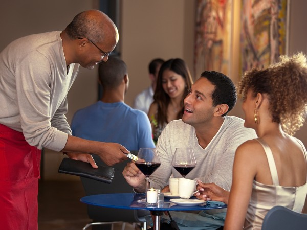 date, pay, woman, man, waiter, paying, money, table, restaurant