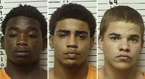 Fom left, James Francis Edwards, 15, Chancey Allen Luna, 16, and Michael Dewayne Jones, 17. Edwards and Luna were charged Aug. 20 with first-degree mu...