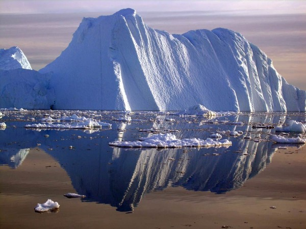 An iceberg carved from a glacier floats in the Jacobshavn fjord in south-west Greenland in this undated handout photograph released on September 20, 2006.