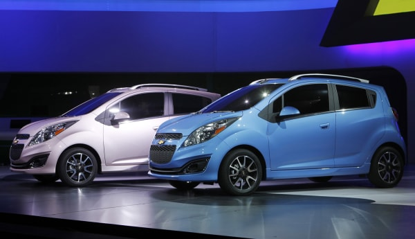 New 2013 Chevrolet Spark cars are unveiled at the LA Auto Show in Los Angeles November 16, 2011. REUTERS/Danny Moloshok (UNITED STATES - Tags: TRANSPO...