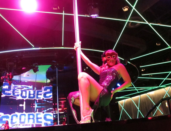 A dancer at Scores rehearses on Monday, Aug. 26, 2013, for the strip club's opening inside the Taj Mahal Casino Resort in Atlantic City, N.J. next mon...