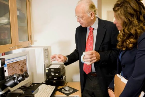 Maria Shriver at a research lab