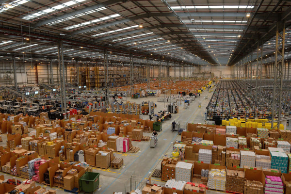 A general view of Amazon's Fulfilment Centre is pictured in Peterborough, central England, on November 28, 2013.