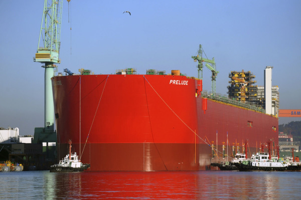 Handout photo of a 488 metre long hull of Shell's Prelude floating liquefied natural gas (FLNG) plant that has been floated out of the dry dock at the...